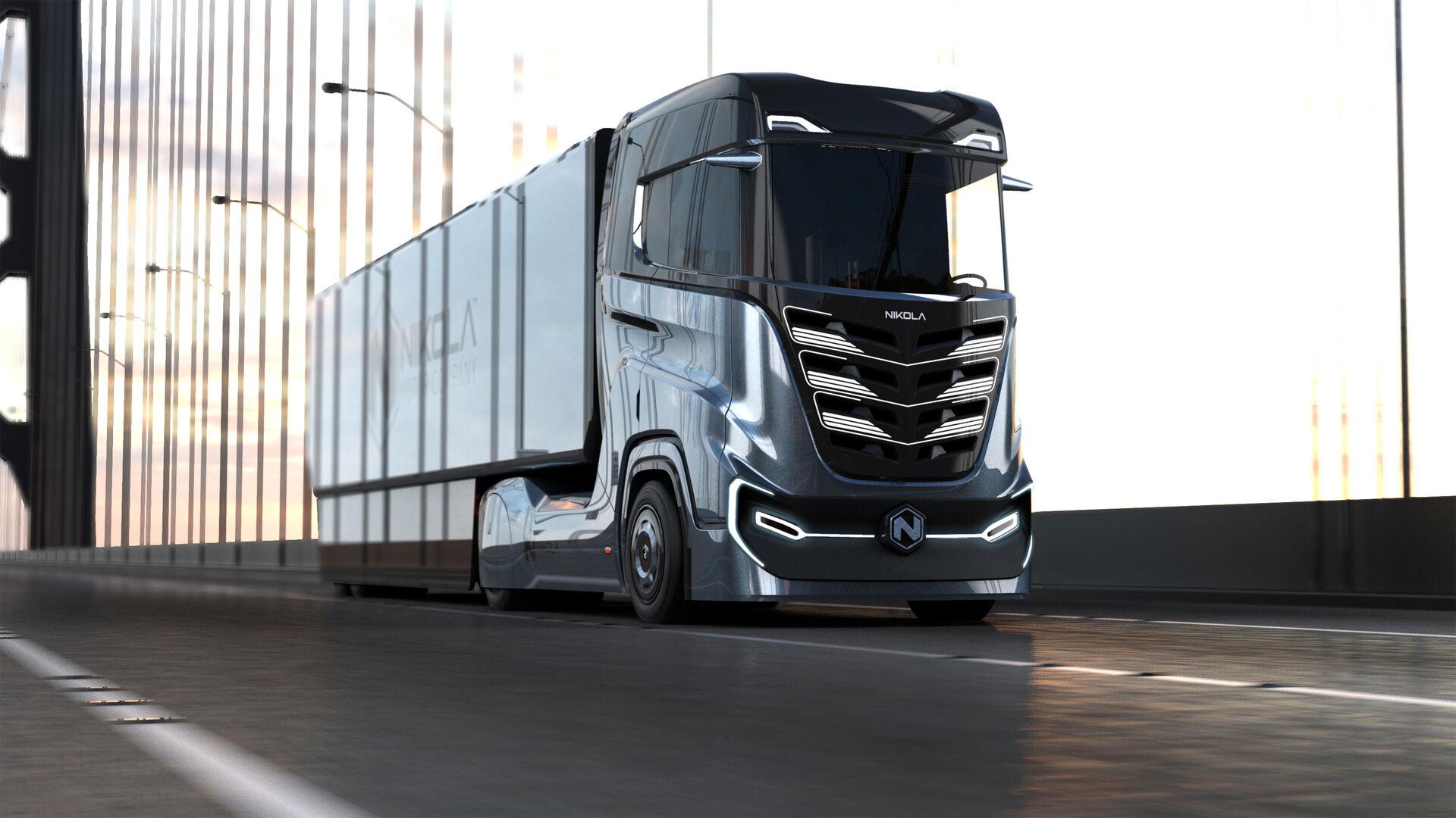 """1000 """"žirgų"""", daugiau kaip 1000 km vienu papildymu ir įspūdinga išvaizda - """"Nikola Motors"""" pristatė specialiai Europai skirtą vandeniliu varomą sunkvežimį """"Nikola Tre"""""""